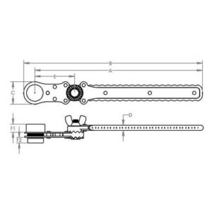 Model 8E Articulating DoubleShot Socket Wrench Dimensions
