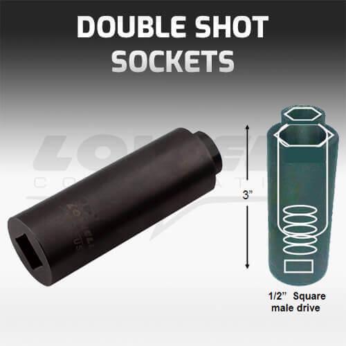 Double shot lineman socket for lineman wrench.