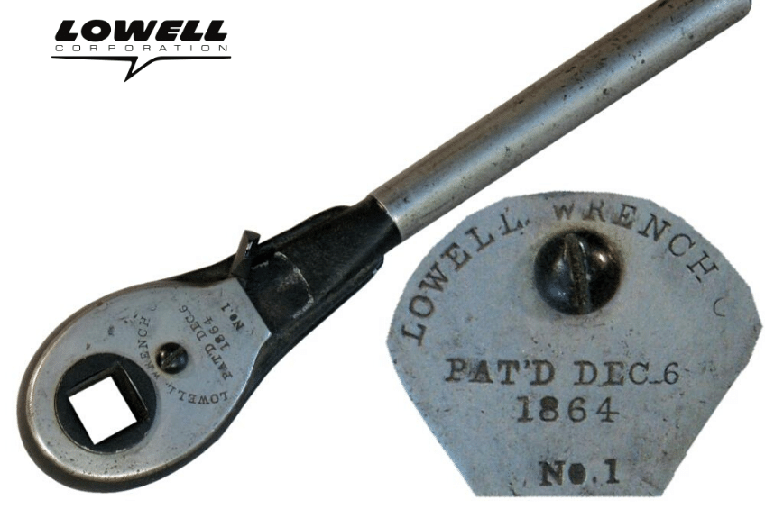 Original Model No. 1 1864 wrench from Lowell, the best U.S. ratchet company.